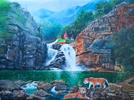 Debkund by Gagan kumar Mohanta, Illustration Painting, Acrylic on Canvas, Gray color