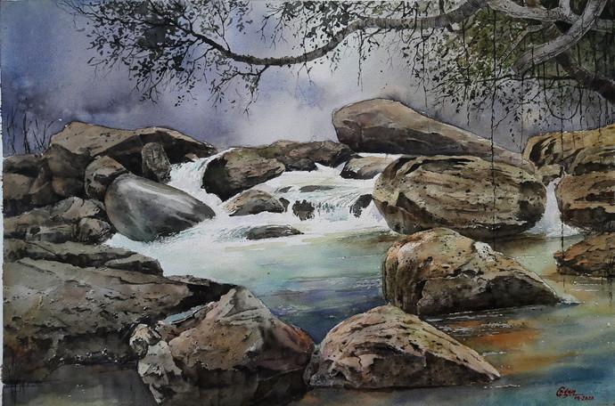 Debkund_2 by Gagan kumar Mohanta, Illustration Painting, Watercolor on Paper, Gray color