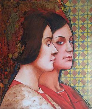 Grace by Dilawar Khan, Illustration Painting, Acrylic on Canvas, Purple color