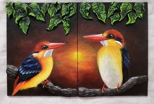 Birds by Kiran Singh, Illustration Painting, Mixed Media on Board, Black color