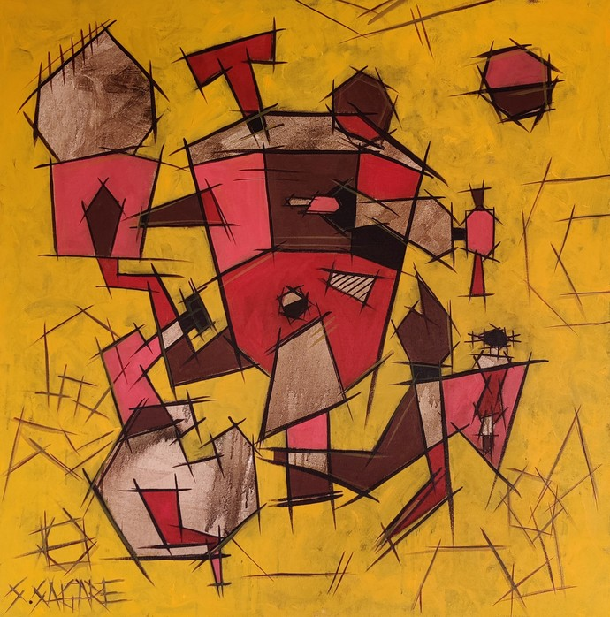 Introduction by Sanket Sagare, Geometrical Painting, Acrylic on Canvas, Yellow color