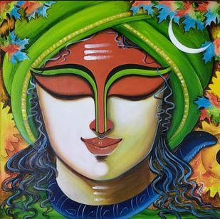 SOMESHWARA 2 by SUSMITA MANDAL, Expressionism, Illustration Painting, Acrylic on Canvas, Olive color