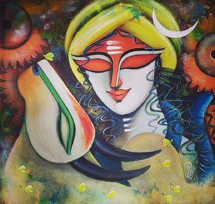 RISHABHNATH (p-5) by SUSMITA MANDAL, Expressionism, Illustration Painting, Acrylic on Canvas, Gray color