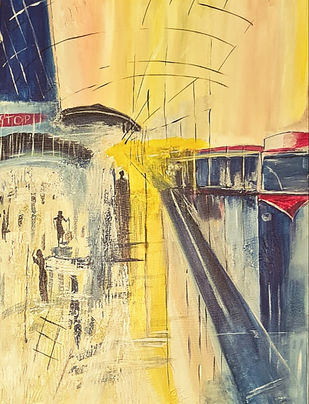 Life at a metro by Poornima Dayal, Conceptual Painting, Acrylic on Canvas, Orange color