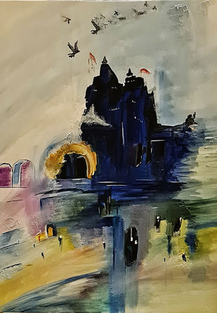 Temple by Poornima Dayal, Conceptual Painting, Acrylic on Canvas, Purple color