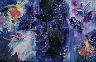 The BalletRoom by Poornima Dayal, Conceptual Painting, Acrylic on Canvas, Gray color