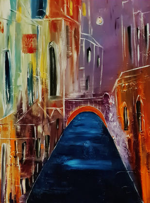 A European holiday by Poornima Dayal, Conceptual Painting, Acrylic on Canvas, Gray color