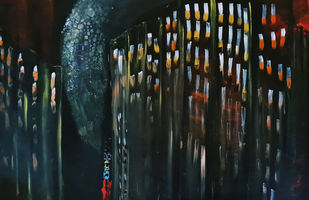 New years eve by Poornima Dayal, Abstract Painting, Acrylic on Canvas, Black color