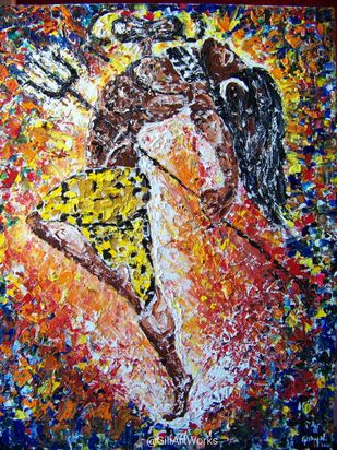 The Cosmic Dance... by Gitanjali Gopinath , Illustration Painting, Oil on Canvas, Olive color