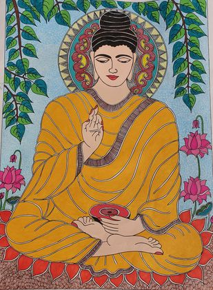 Handmade Mandhubani Painting- Lord Buddha by Archana, Folk, Illustration Painting, Acrylic on Paper, Orange color