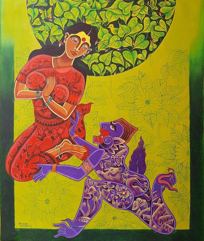Sita in Ashok Vana by Ramana Peram , Decorative, Illustration Painting, Acrylic on Canvas, Olive color