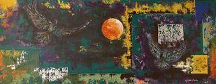 Soaring High by Gita Jain, Abstract Painting, Mixed Media, Gray color