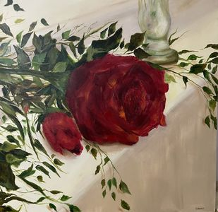Red Rose by Gita Jain, Illustration Painting, Oil on Canvas, Purple color