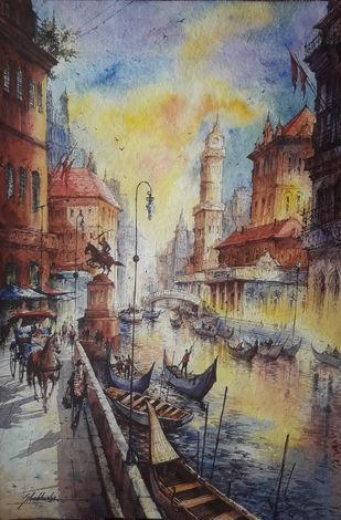 Water city Venice -3 by Shubhashis Mandal, Illustration Painting, Watercolor on Paper, Gray color