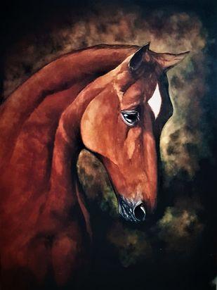THE HORSE by SANOOP KOSHY ZACHARIAH, Illustration Painting, Acrylic on Canvas, Black color