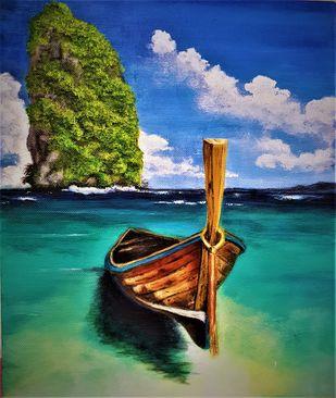 THAILAND by SANOOP KOSHY ZACHARIAH, Illustration Painting, Acrylic on Canvas, Gray color