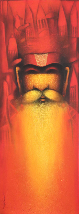 A Sadhu's Reminiscences by Somnath Bothe, Illustration Painting, Acrylic on Canvas, Red color