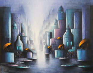 Holy Banaras by Somnath Bothe, Illustration Painting, Charcoal and Acrylic on Canvas, Gray color