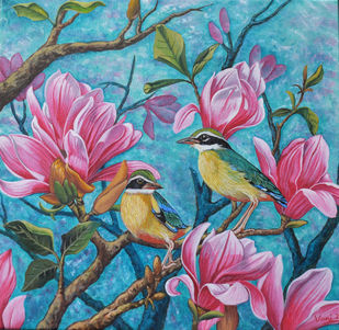 Duet (11) by Vani Chawla, Illustration Painting, Acrylic on Canvas, Teal color