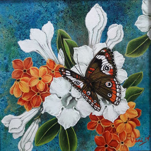 Butterfly (5) by Vani Chawla, Illustration Painting, Acrylic on Canvas, Gray color