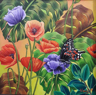 Butterfly (6) by Vani Chawla, Illustration Painting, Acrylic on Canvas, Gray color