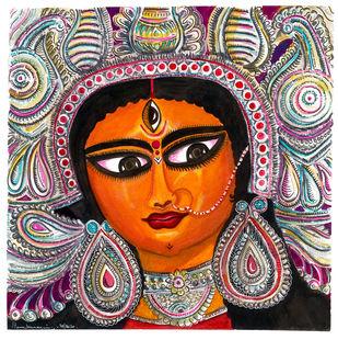 Durga - Jaijaiwanti by Shilpa Shanker Narain, Illustration Painting, Watercolor on Paper, White color