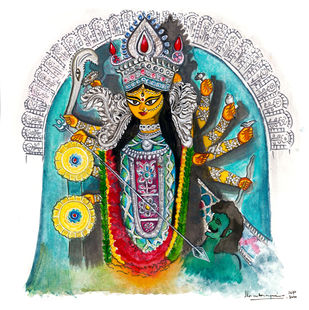 Durga - Shivaranjini by Shilpa Shanker Narain, Illustration Painting, Watercolor on Paper, Silver color