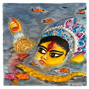 Durga - Gauri by Shilpa Shanker Narain, Illustration Painting, Watercolor on Paper, White color
