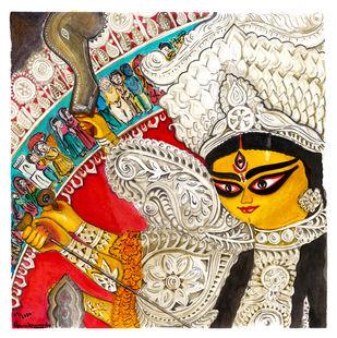 Durga - Hamsadhwani by Shilpa Shanker Narain, Illustration Painting, Watercolor on Paper, Silver color