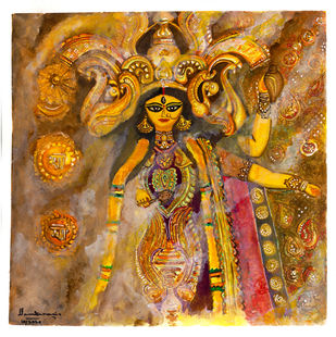 Durga - Bageshwaree by Shilpa Shanker Narain, Illustration Painting, Watercolor on Paper, White color