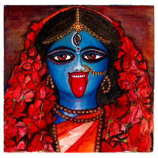 Durga - Shyama by Shilpa Shanker Narain, Illustration Painting, Watercolor on Paper, White color