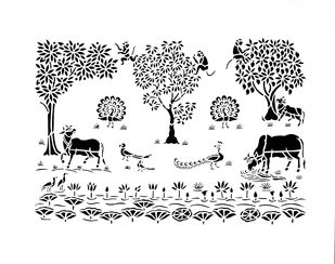 Sanjhi Art by Unknown Artist, Traditional Painting, Hand Cut Paper, White color