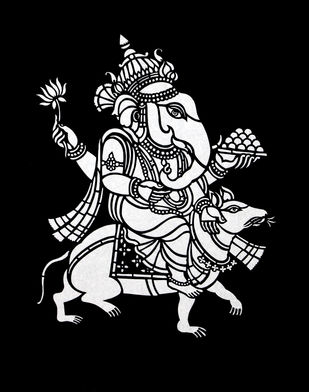 Sanjhi Art by Unknown Artist, Traditional Painting, Hand Cut Paper, Black color