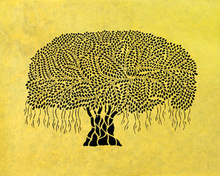 Sanjhi Art by Unknown Artist, Traditional Painting, Hand Cut Paper, Olive color