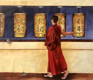 Prayer to buddha by Kangana Vohra , Illustration Painting, Acrylic on Canvas, Orange color