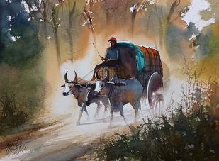 bullock cart by Sunil Linus De, Illustration Painting, Watercolor on Paper, Gray color