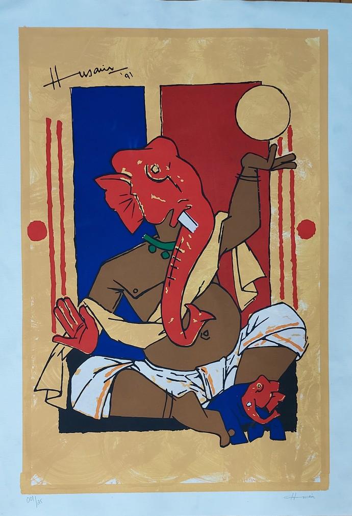 Ganesh by M F Husain, Illustration Serigraph, Serigraph on Paper, Olive color