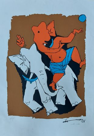 Ganesh by M F Husain, Illustration Serigraph, Serigraphy On Cloth, Blue color