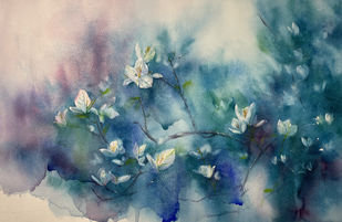 Arrival of Spring by Nisha Sehjpal, Illustration Painting, Watercolor on Paper, Gray color