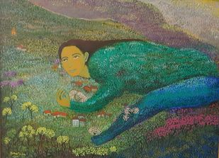 Life Garden by Aradhna Tandon, Expressionism, Illustration Painting, Acrylic on Canvas, Gray color