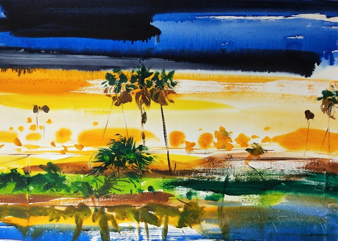 Prabhat by Santosh Keshari , Illustration Painting, Watercolor on Paper, Olive color