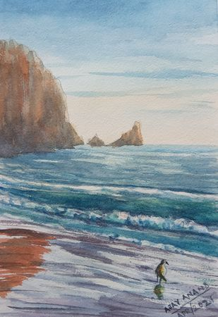 Seascape in Watercolor by Ajay Anand, Illustration Painting, Watercolor on Paper, Gray color