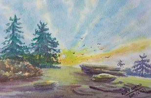 Sunrise on Hill by Ajay Anand, Illustration Painting, Watercolor on Paper, Silver color