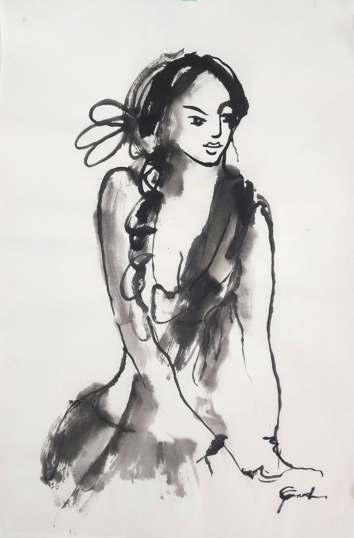 ALAGI 1 by MADURAI GANESH, Illustration Drawing, Ink on Paper, Silver color