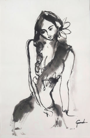 ALAGI 3 by MADURAI GANESH, Illustration Painting, Ink on Paper, Silver color