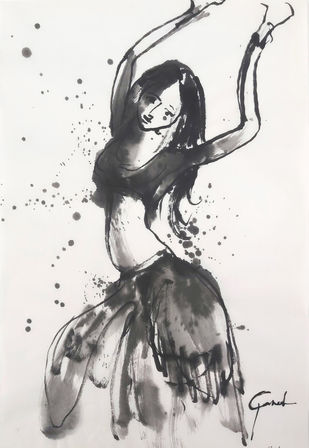 ALAGI 31 by MADURAI GANESH, Illustration Drawing, Ink on Paper, White color