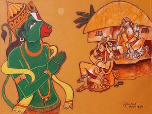 Hanuman's memory by Ramana Peram , Illustration Painting, Acrylic on Canvas, Orange color