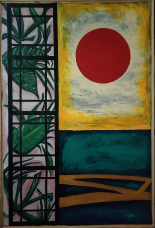 The Bohemian Greens by Neeraj Raina, Illustration Painting, Acrylic on Canvas, Black color