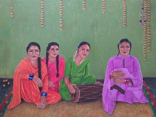 Four Friends by Nilofar Ansari, Illustration Painting, Oil on Canvas, Gray color