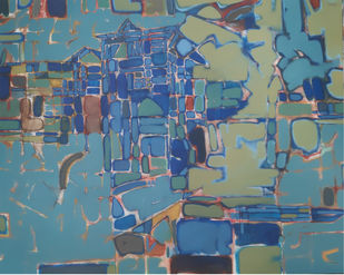 BLUE CITY by SAMEER DIXIT, Abstract Painting, Acrylic on Canvas, Gray color